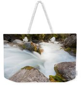 River Rapids Washing Over Rocks With Silky Look Weekender Tote Bag
