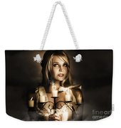 Romantic Blonde Woman Holding The Light Of Love Weekender Tote Bag