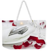 Romantic Dinner Setting With Rose Petals Weekender Tote Bag
