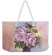 Roses In Ruby Vase Weekender Tote Bag