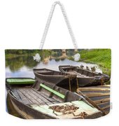 Rowboats On The French Canals Weekender Tote Bag by Debra and Dave Vanderlaan