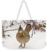 Ruffed Grouse Walking On Snow - Horizontal Weekender Tote Bag