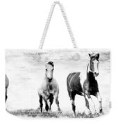Running Wild Black And White Weekender Tote Bag