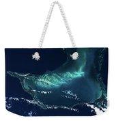 Satellite View Of Turks And Caicos Weekender Tote Bag