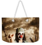 Scary Clown Doctor Throwing Knives Outdoors Weekender Tote Bag