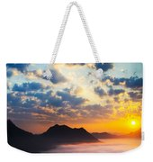 Sea Of Clouds On Sunrise With Ray Lighting Weekender Tote Bag