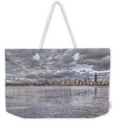 Seattle Cityscape In Clouds Weekender Tote Bag