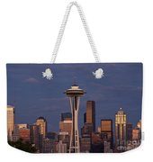 Seattle Skyline And Space Needle With City Lights Weekender Tote Bag