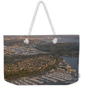 Seattle Skyline With Shilshole Marina Along The Puget Sound  Weekender Tote Bag