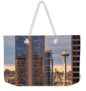 Seattle Space Needle Golden Sunset Light Weekender Tote Bag
