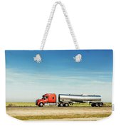 Semi Truck Moving On The Highway Weekender Tote Bag