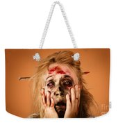Shocked Horror Halloween Zombie With Hands Face Weekender Tote Bag