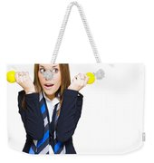 Shocked Woman With Ideas Of Business Innovation Weekender Tote Bag