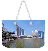 Singapore Artscience Museum Double Helix Bridge And Marina Bay  Weekender Tote Bag