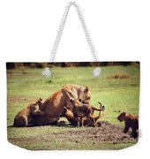Small Lion Cubs With Mother. Tanzania Weekender Tote Bag