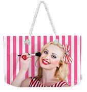 Smiling Makeup Girl Using Cosmetic Powder Brush Weekender Tote Bag