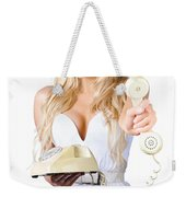 Smiling Woman With Retro Telephone Weekender Tote Bag