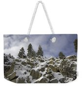 Snow Covered Cliffs And Trees Weekender Tote Bag