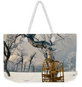 Snowshoes Leaning Against Birch Tree Snowscape Weekender Tote Bag