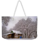 Snowy Day On The Farm Weekender Tote Bag