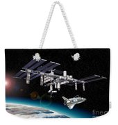 Space Station In Orbit Around Earth Weekender Tote Bag
