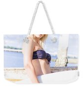 Sports Person Carrying Surf Board Outdoors Weekender Tote Bag