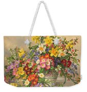 Spring Flowers And Poole Pottery Weekender Tote Bag