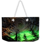 Star Trails And Northern Lights In Sky Over Taiga Weekender Tote Bag