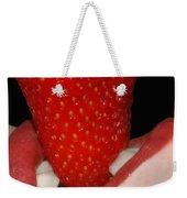 Strawberry Lips Weekender Tote Bag by Joann Vitali