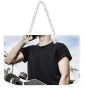 Student Talking To A Friend On Mobile Smartphone Weekender Tote Bag