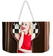Stylish Surprised Women Portrait. Pinup Secret Weekender Tote Bag