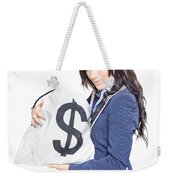 Successful Business Woman Holding Bags Of Money Weekender Tote Bag