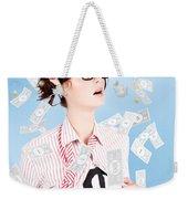 Successful Female Business Superhero Winning Money Weekender Tote Bag