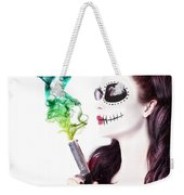 Sugar Skull Girl Blowing On Smoking Gun Weekender Tote Bag
