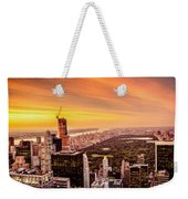 Sunset Over Central Park And The New York City Skyline Weekender Tote Bag