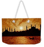 Sunset Over Istanbul Original Coffee Painting Weekender Tote Bag