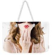 Surprised Beautiful Pin-up Girl. White Background Weekender Tote Bag