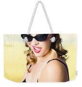 Surprised Pinup Girl On Tropical Beach Background Weekender Tote Bag