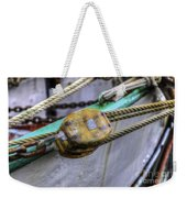 Tall Ship Wooden Line Block Weekender Tote Bag