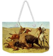 The Buffalo Hunt Weekender Tote Bag by Frederic Remington