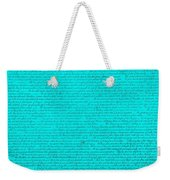The Declaration Of Independence In Turquoise Weekender Tote Bag by Rob Hans