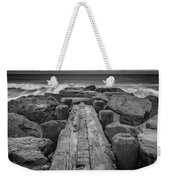 The Jetty In Black And White Weekender Tote Bag