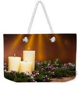 Three Candles In An Advent Flower Arrangement Weekender Tote Bag