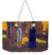 Three Tahitian Women Against A Yellow Background Weekender Tote Bag