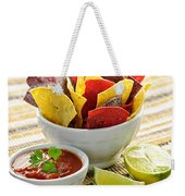 Tortilla Chips And Salsa Weekender Tote Bag by Elena Elisseeva