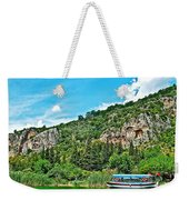 Tourboat Stops By Ancient Tombs In Daylan-turkey  Weekender Tote Bag