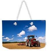Tractor In Plowed Field Weekender Tote Bag