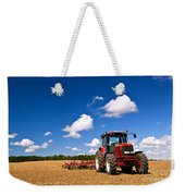 Tractor In Plowed Field Weekender Tote Bag