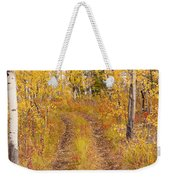 Trail In Golden Aspen Forest Weekender Tote Bag
