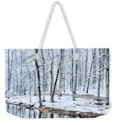 Tree Line Reflections In Lake During Winter Snow Storm Weekender Tote Bag